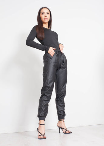 Priya Faux Leather Jogger In Black - The Walk in Wardrobe