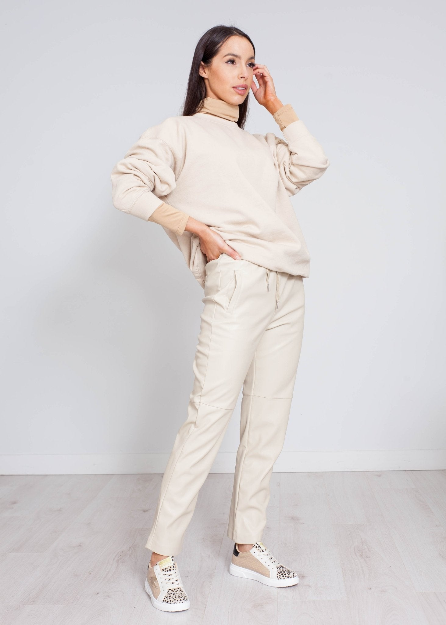 Priya Faux Leather Jogger In Cream - The Walk in Wardrobe