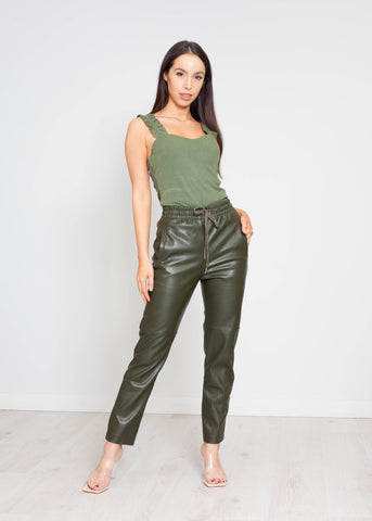 Priya Faux Leather Jogger In Khaki - The Walk in Wardrobe