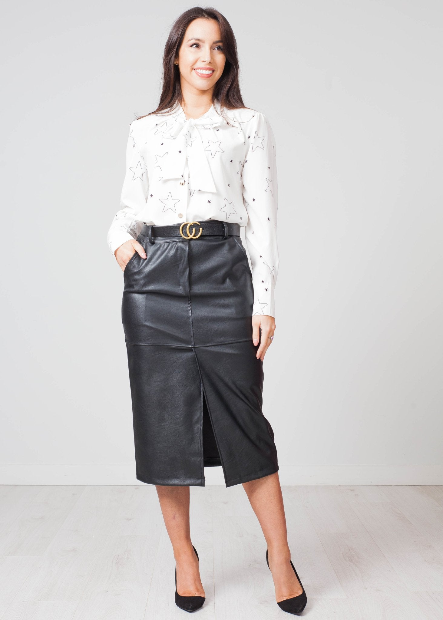 Priya Faux Leather Pencil Skirt In Black - The Walk in Wardrobe