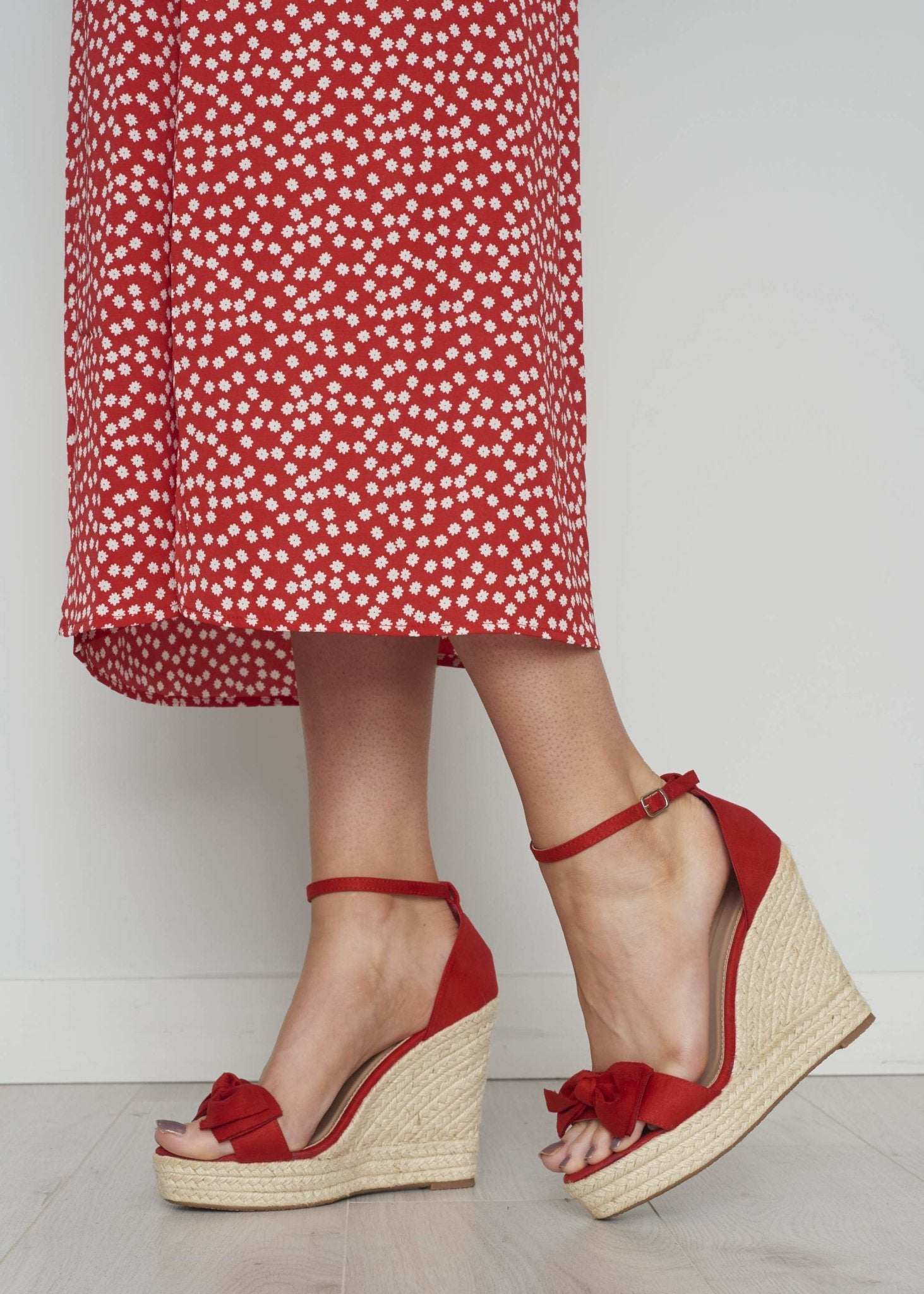 Priya Faux Suede Wedge In Red - The Walk in Wardrobe