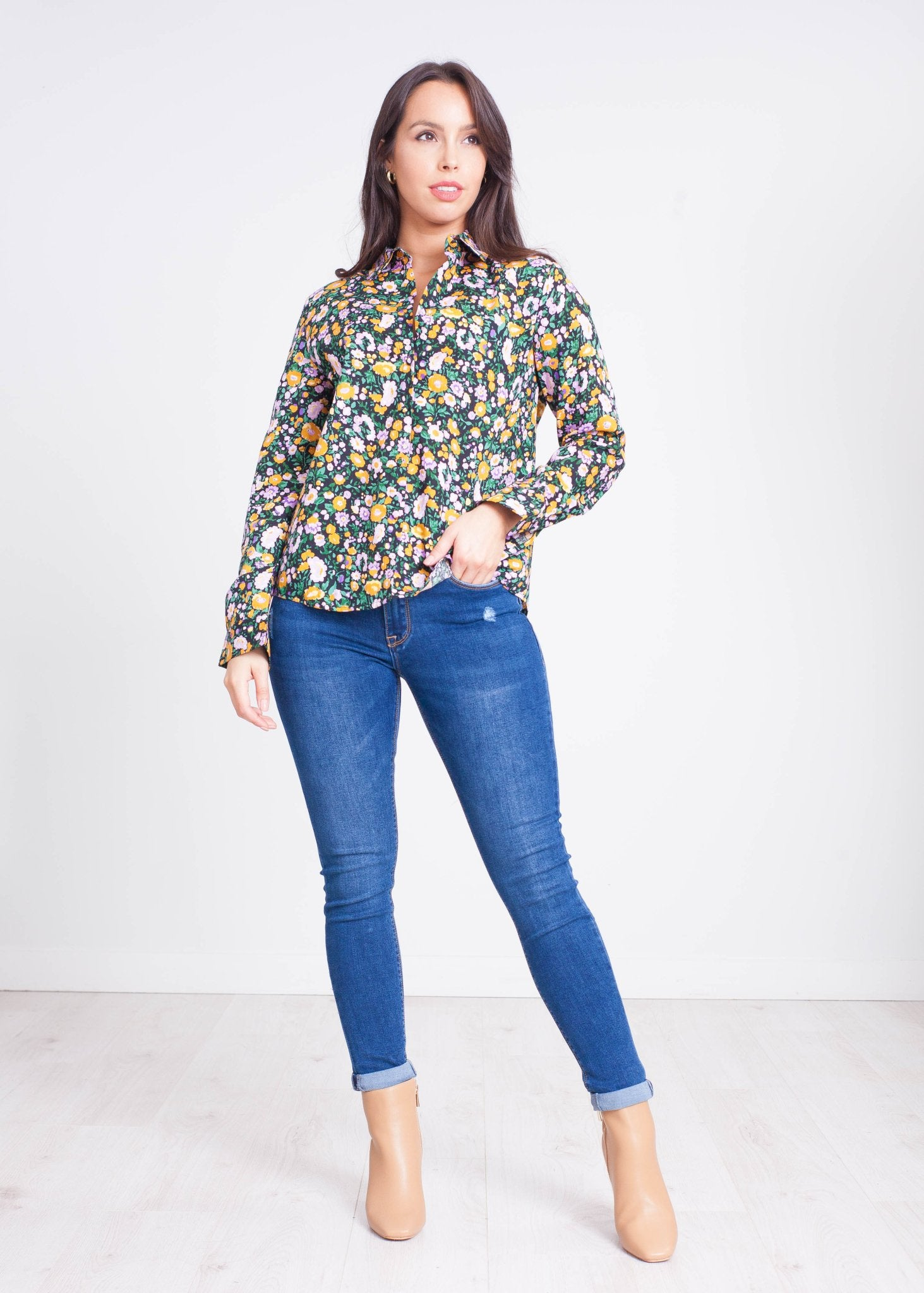 Priya Floral Shirt in Lilac & Orange - The Walk in Wardrobe