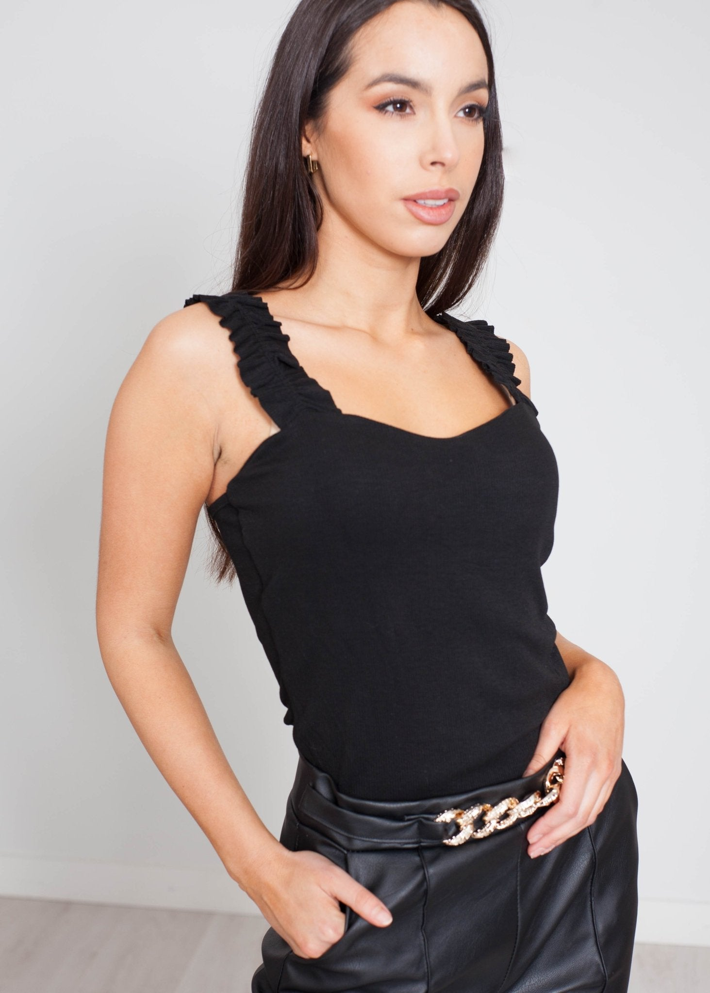 Priya Frill Bodysuit In Black - The Walk in Wardrobe