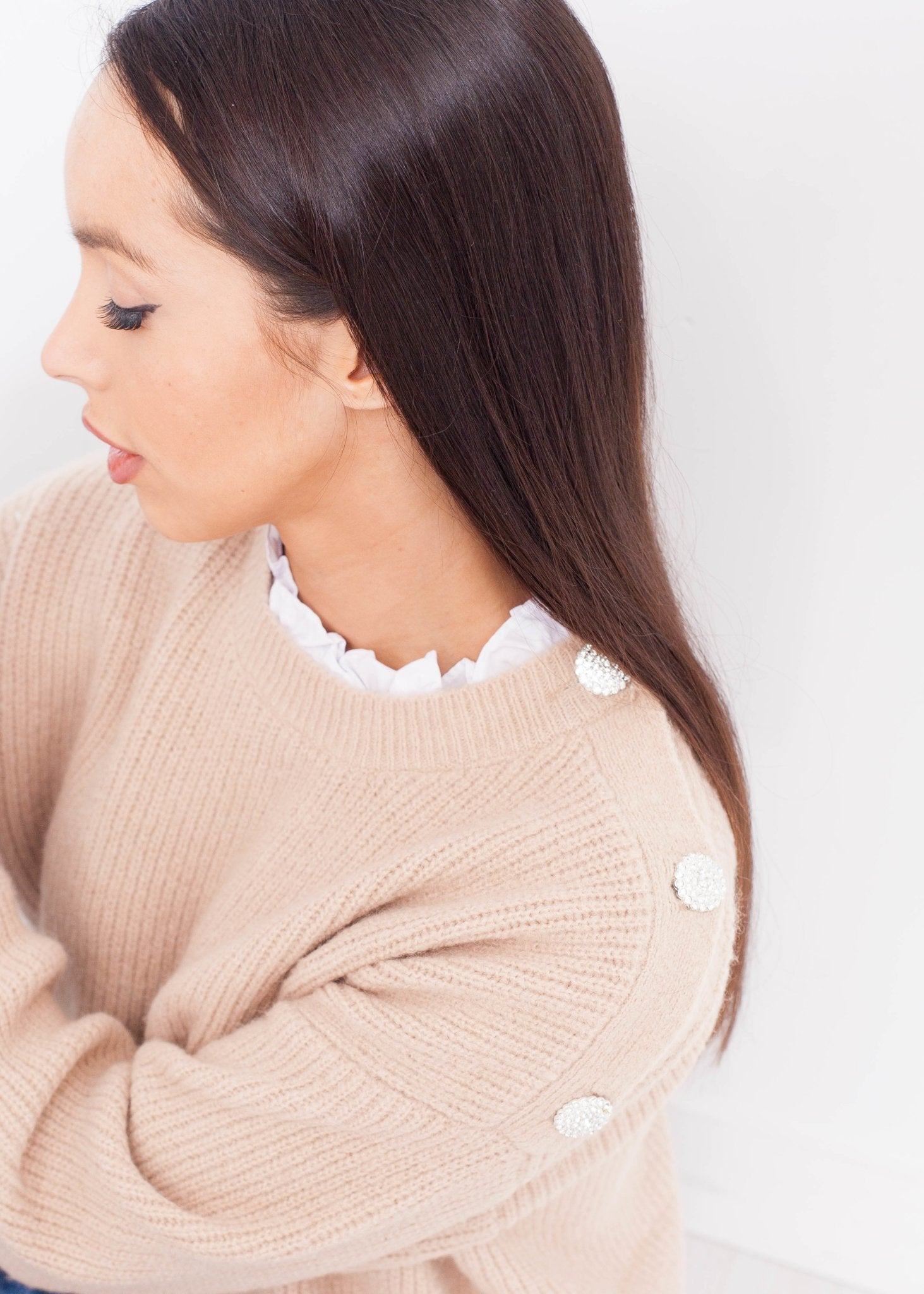 Priya Frill Collar Jumper In Beige - The Walk in Wardrobe