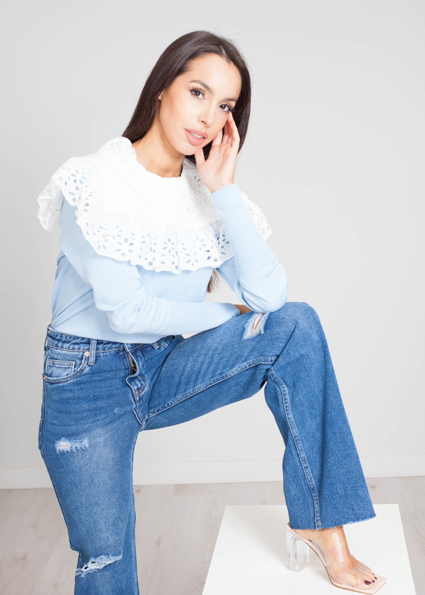 Priya Frill Collar Knit Top In Blue - The Walk in Wardrobe