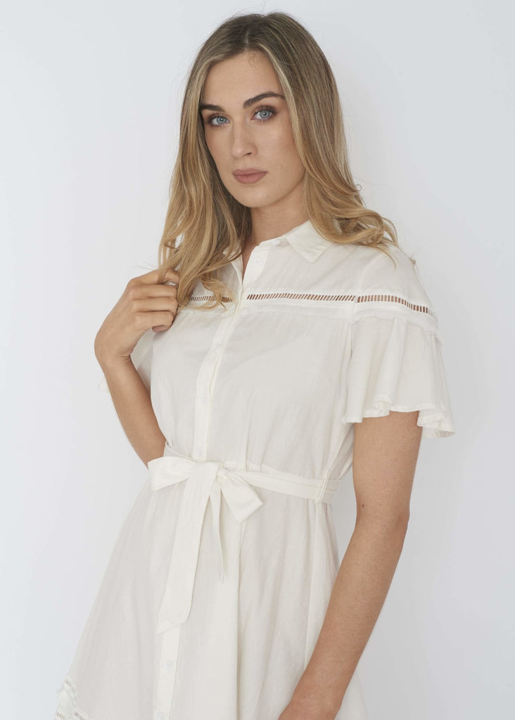 Priya Fringed Shirt Dress In White - The Walk in Wardrobe