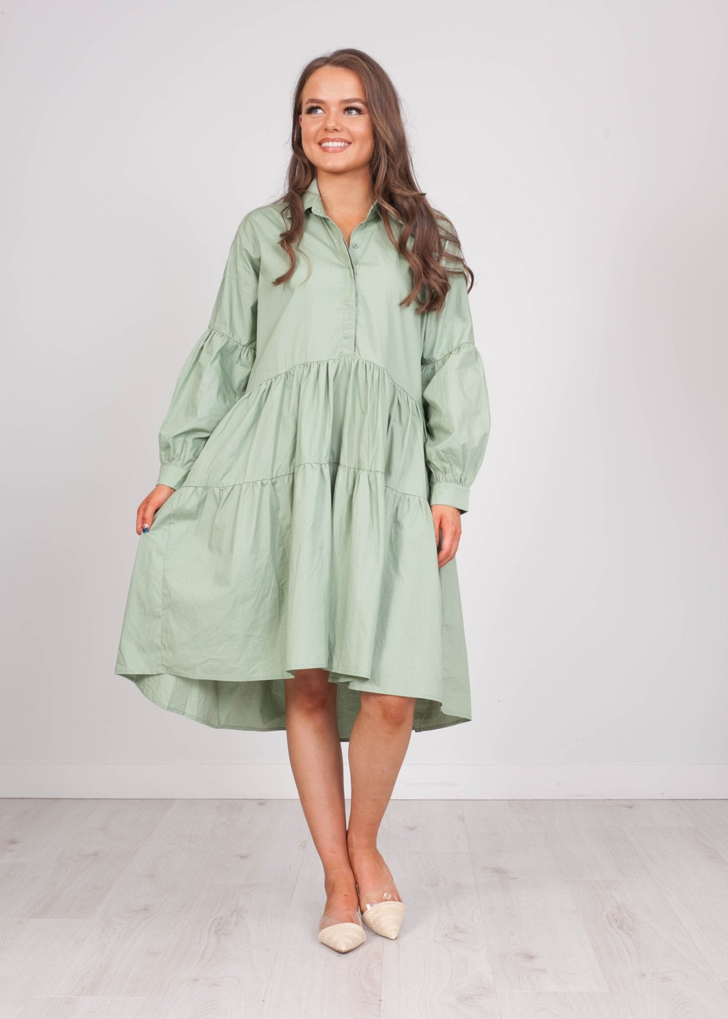 Priya Green A-Line Shirt Dress - The Walk in Wardrobe