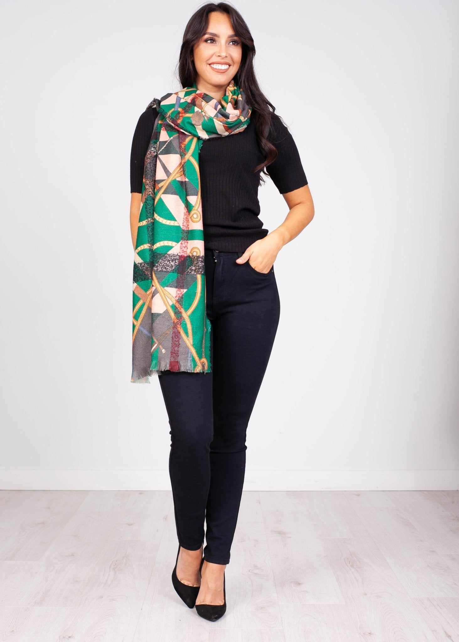 Priya Green Check and Buckle Scarf - The Walk in Wardrobe