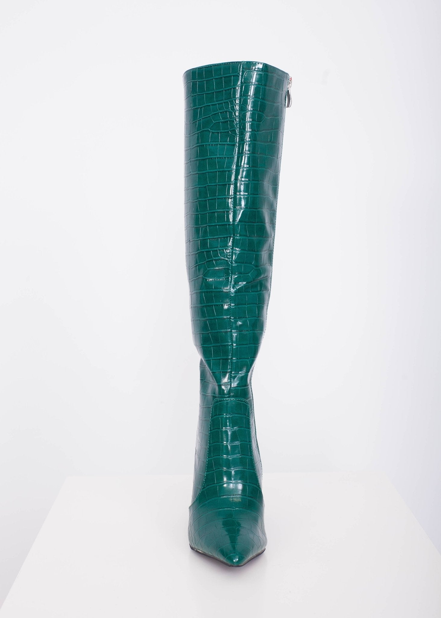 Priya Green Croc Knee High Boot - The Walk in Wardrobe