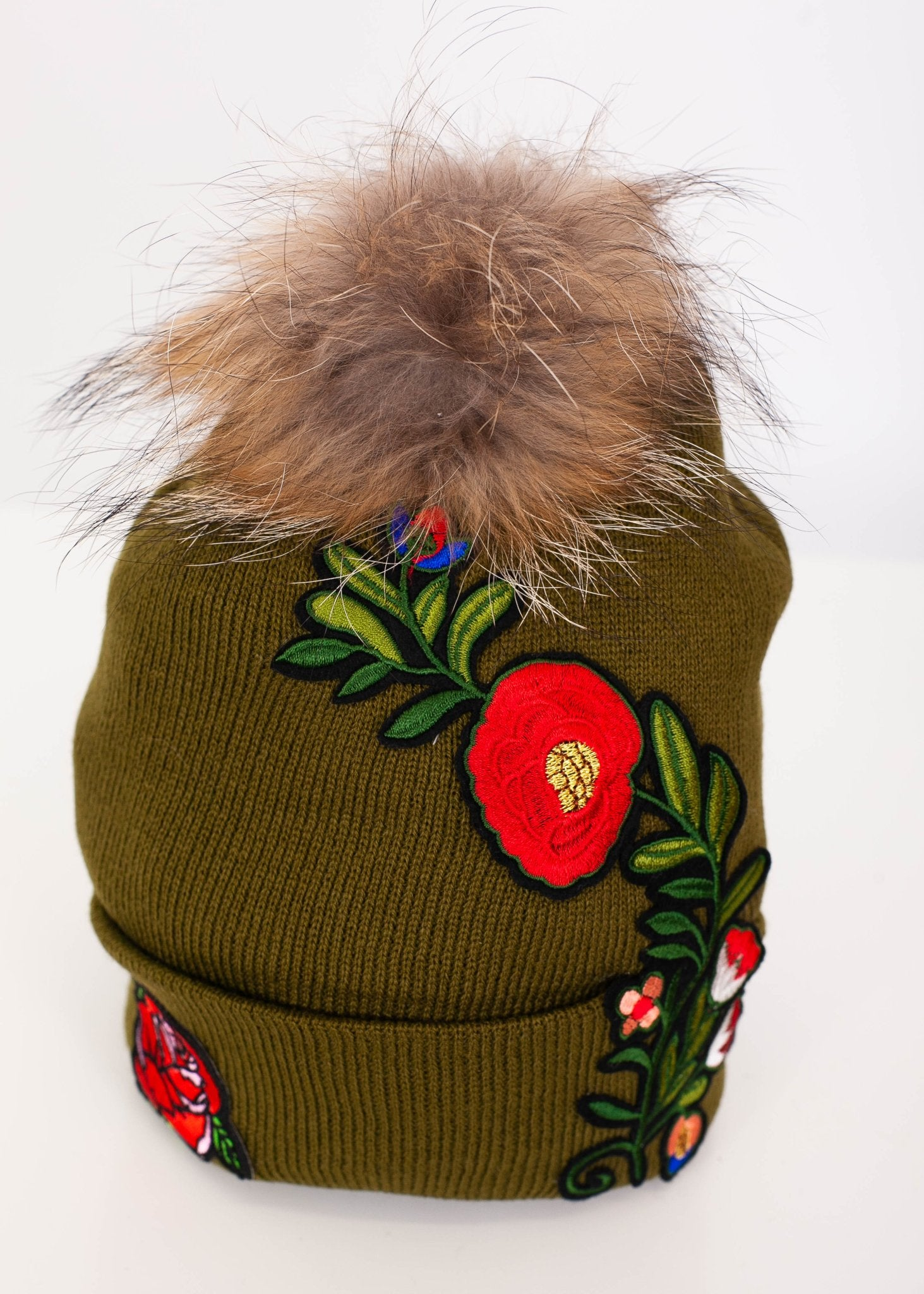 Priya Green Rose Patch Hat - The Walk in Wardrobe