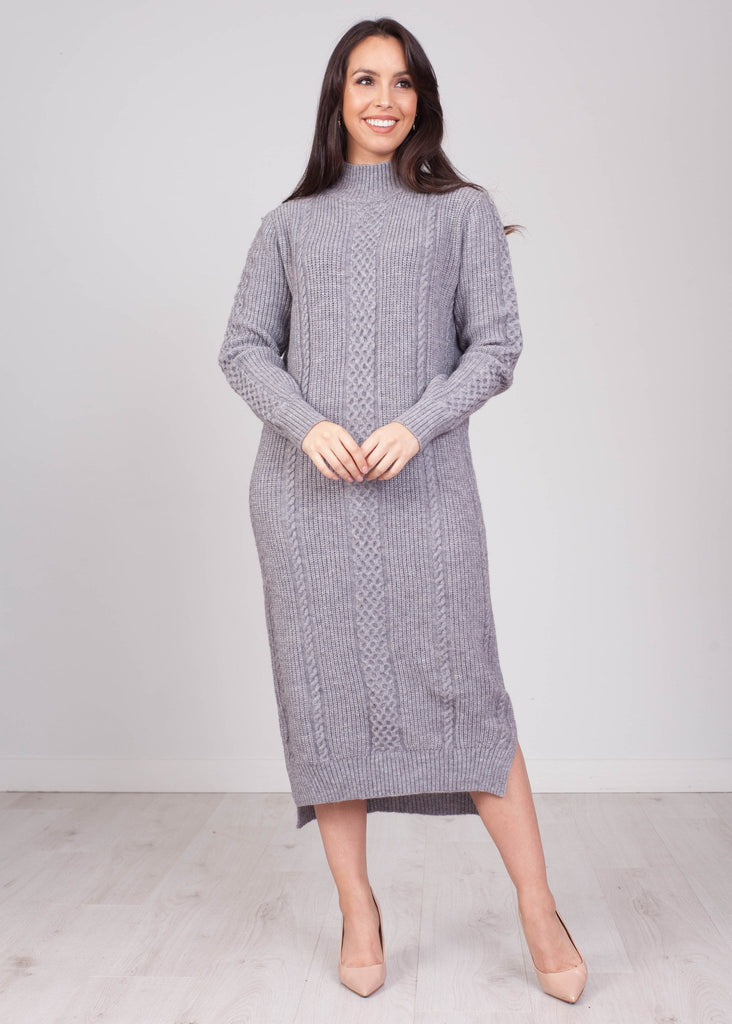 Priya Grey Chunky Knit Dress - The Walk in Wardrobe
