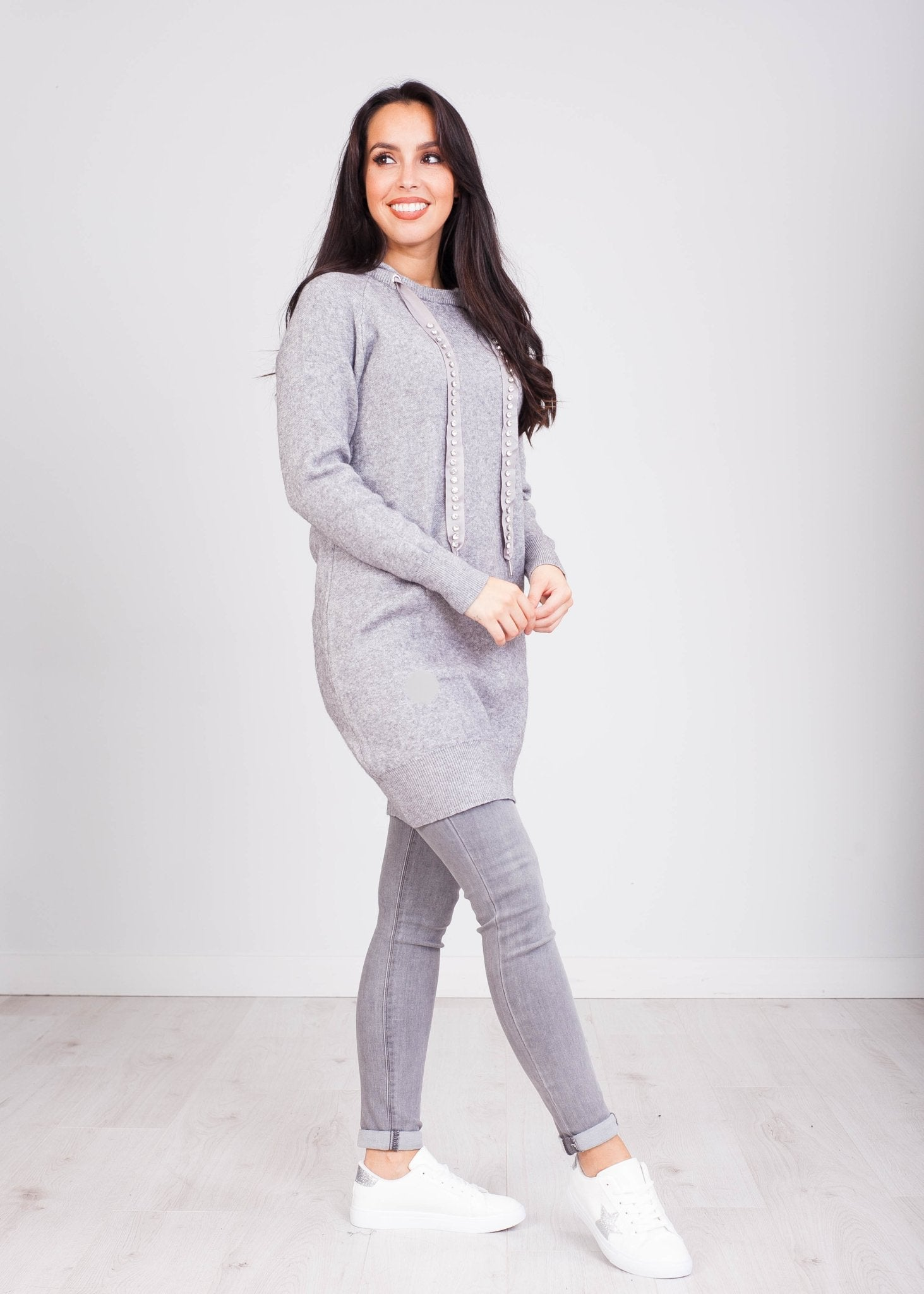 Priya Grey Hoodie Dress with Jewels - The Walk in Wardrobe