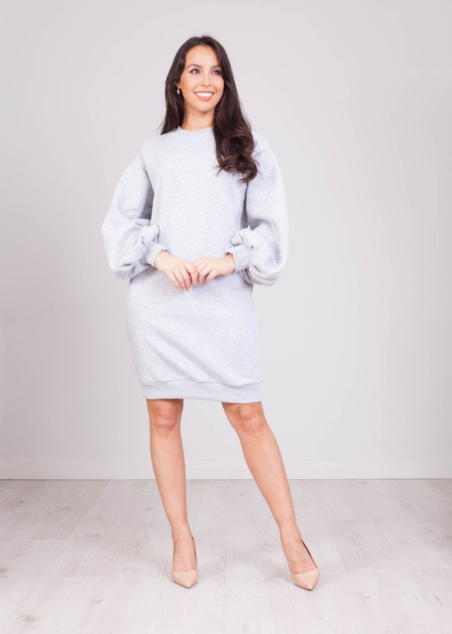 Priya Grey Puff Sleeve Jumper Dress - The Walk in Wardrobe