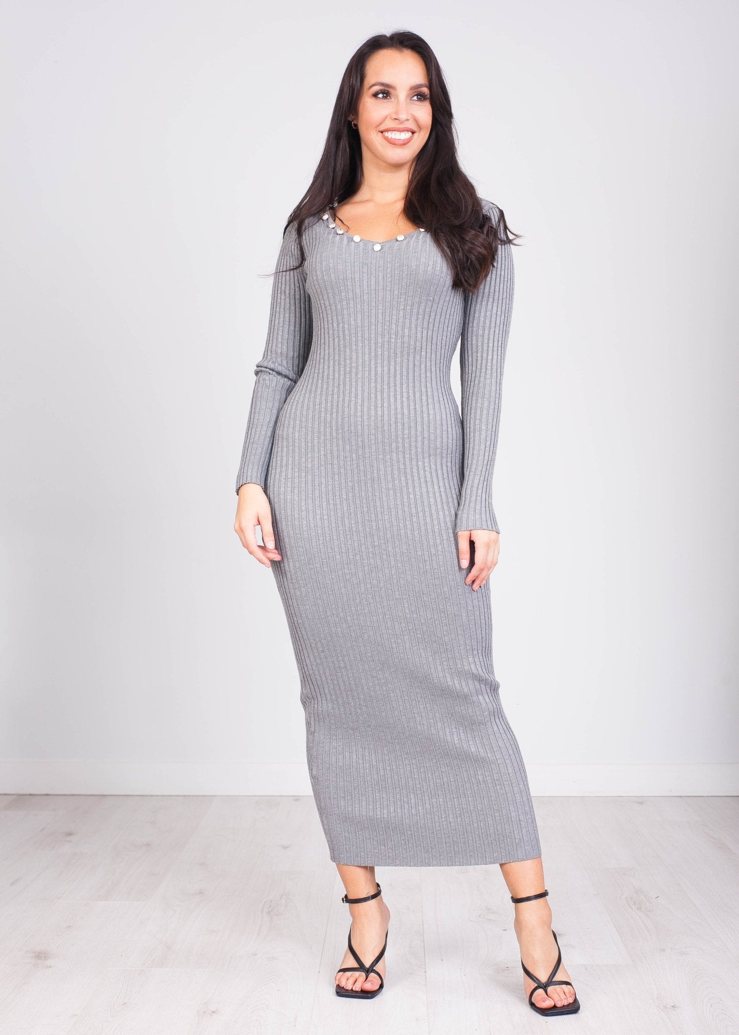 Priya Grey V-Neck Knit Dress - The Walk in Wardrobe