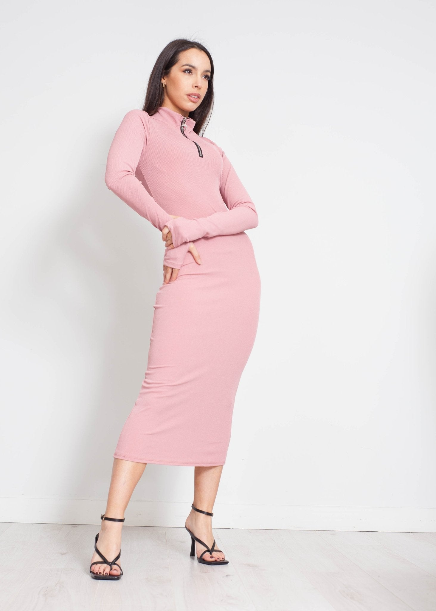 Priya Half Zip Midi Dress in Rose - The Walk in Wardrobe