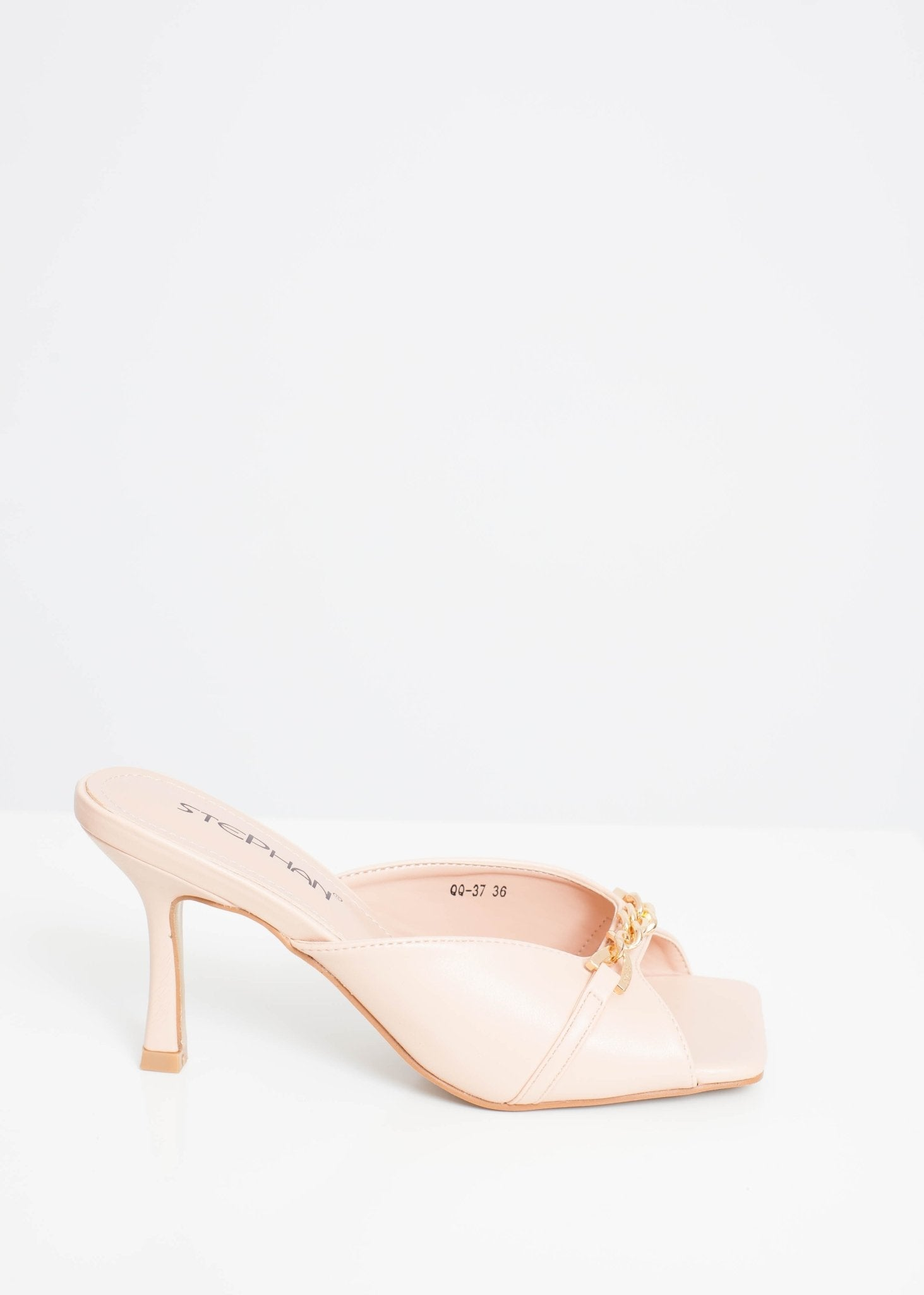 Priya Heeled Chain Mule In Neutral - The Walk in Wardrobe