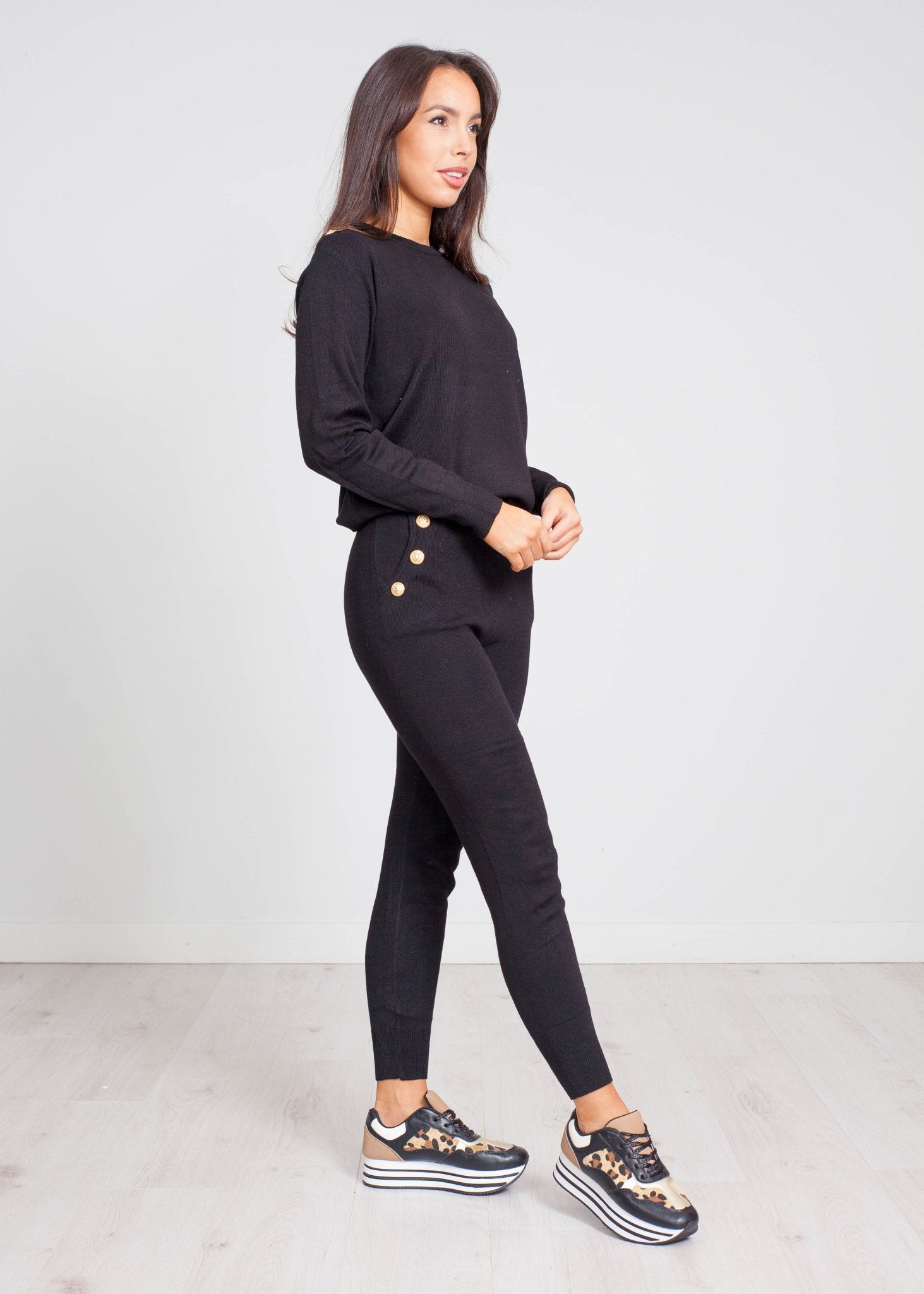 Priya High Waist Lounge Set In Black - The Walk in Wardrobe