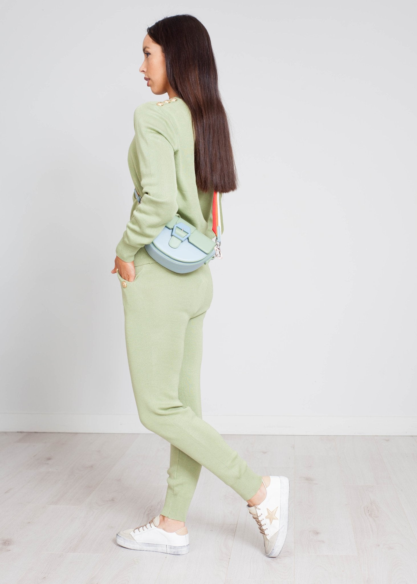 Priya High Waist Lounge Set In Green - The Walk in Wardrobe