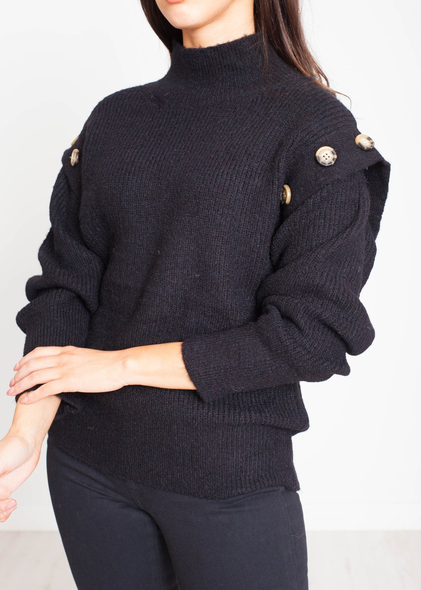 Priya Jumper With Buttons In Black - The Walk in Wardrobe