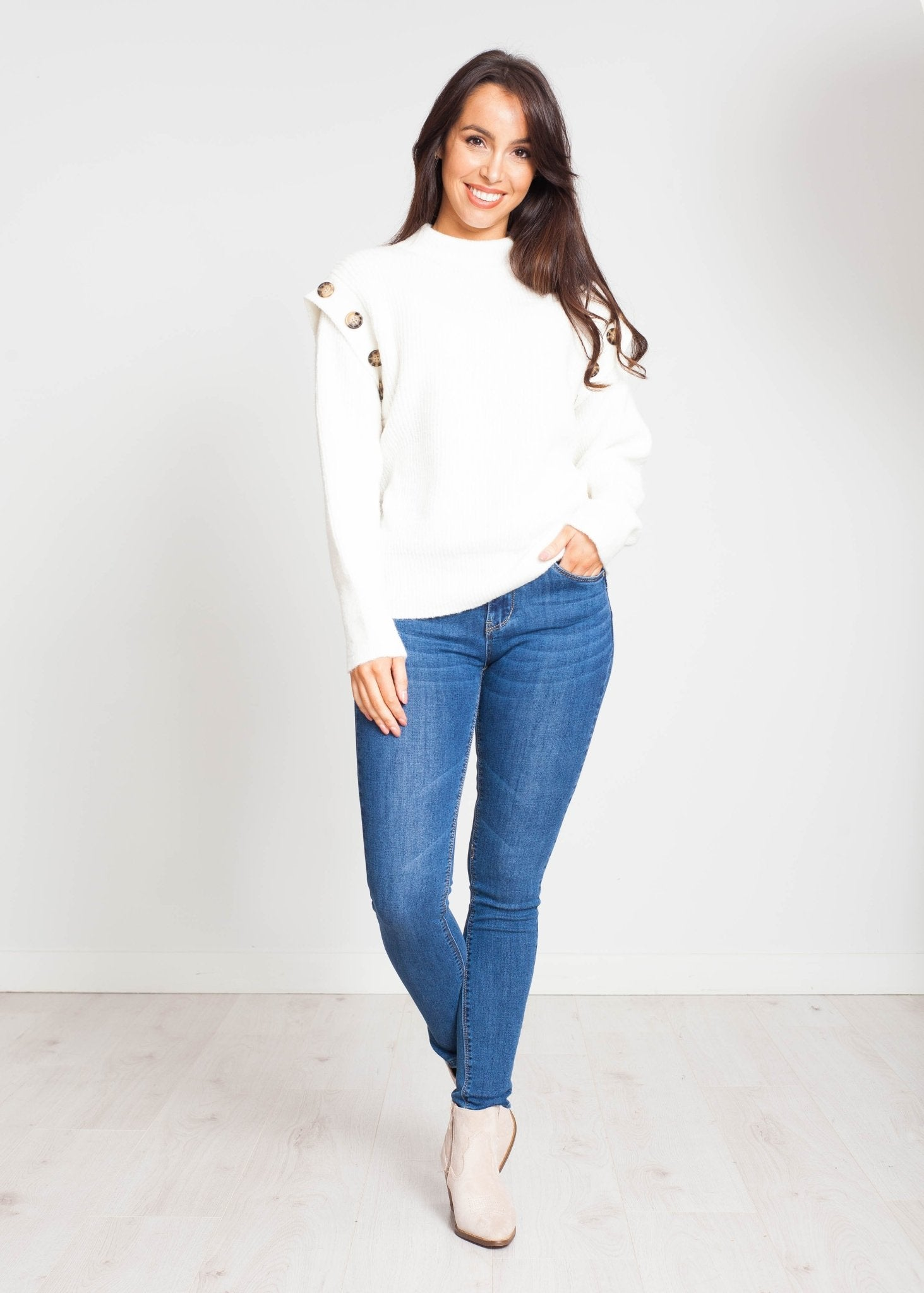 Priya Jumper With Buttons In Winter White - The Walk in Wardrobe