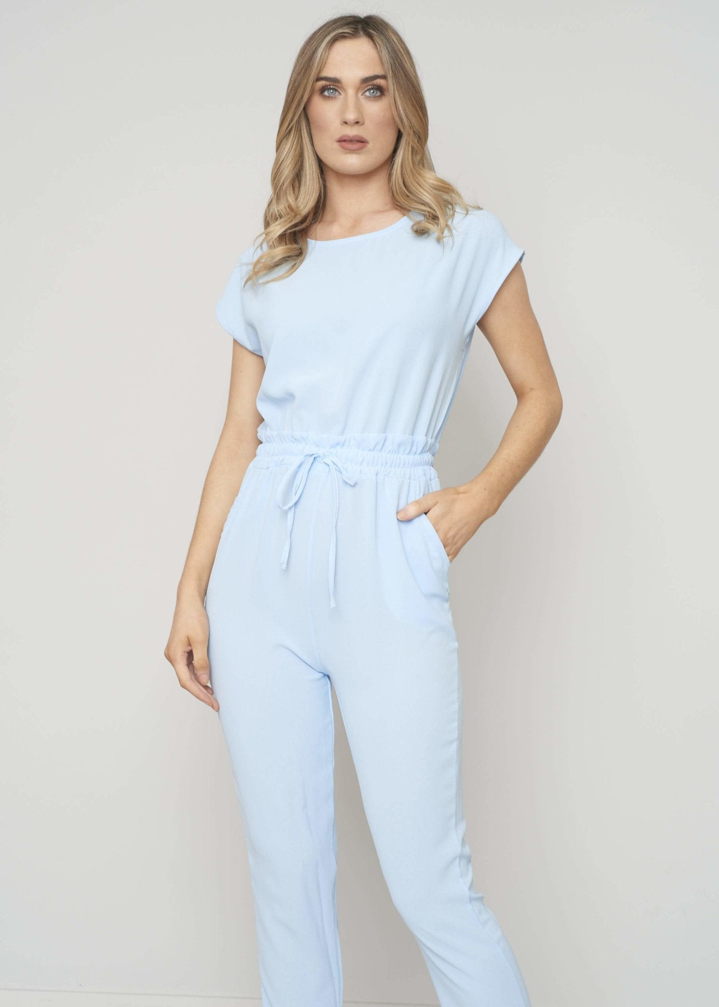 Priya Jumpsuit In Powder Blue - The Walk in Wardrobe