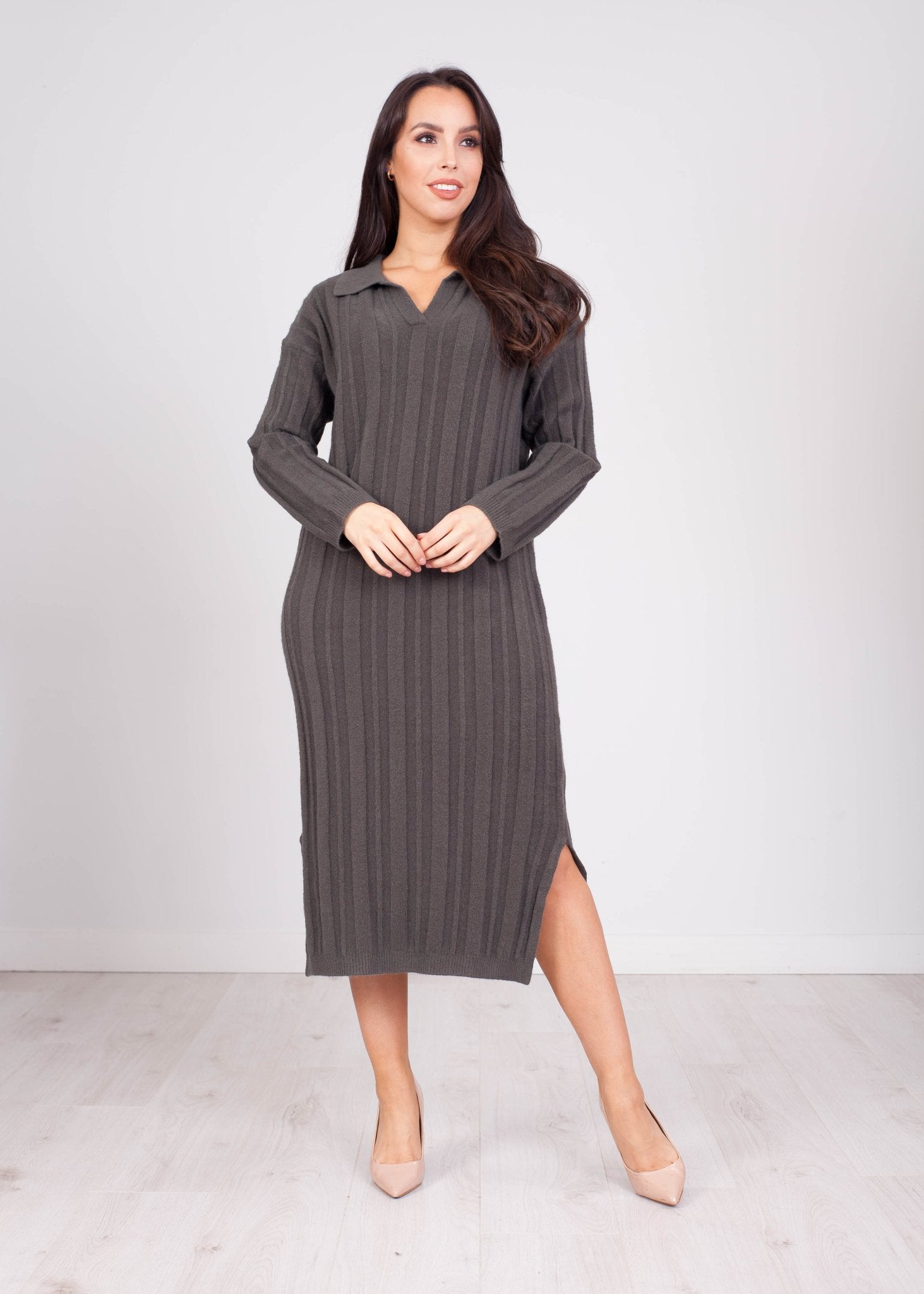 Priya Khaki Longline Knit Shirt Dress - The Walk in Wardrobe