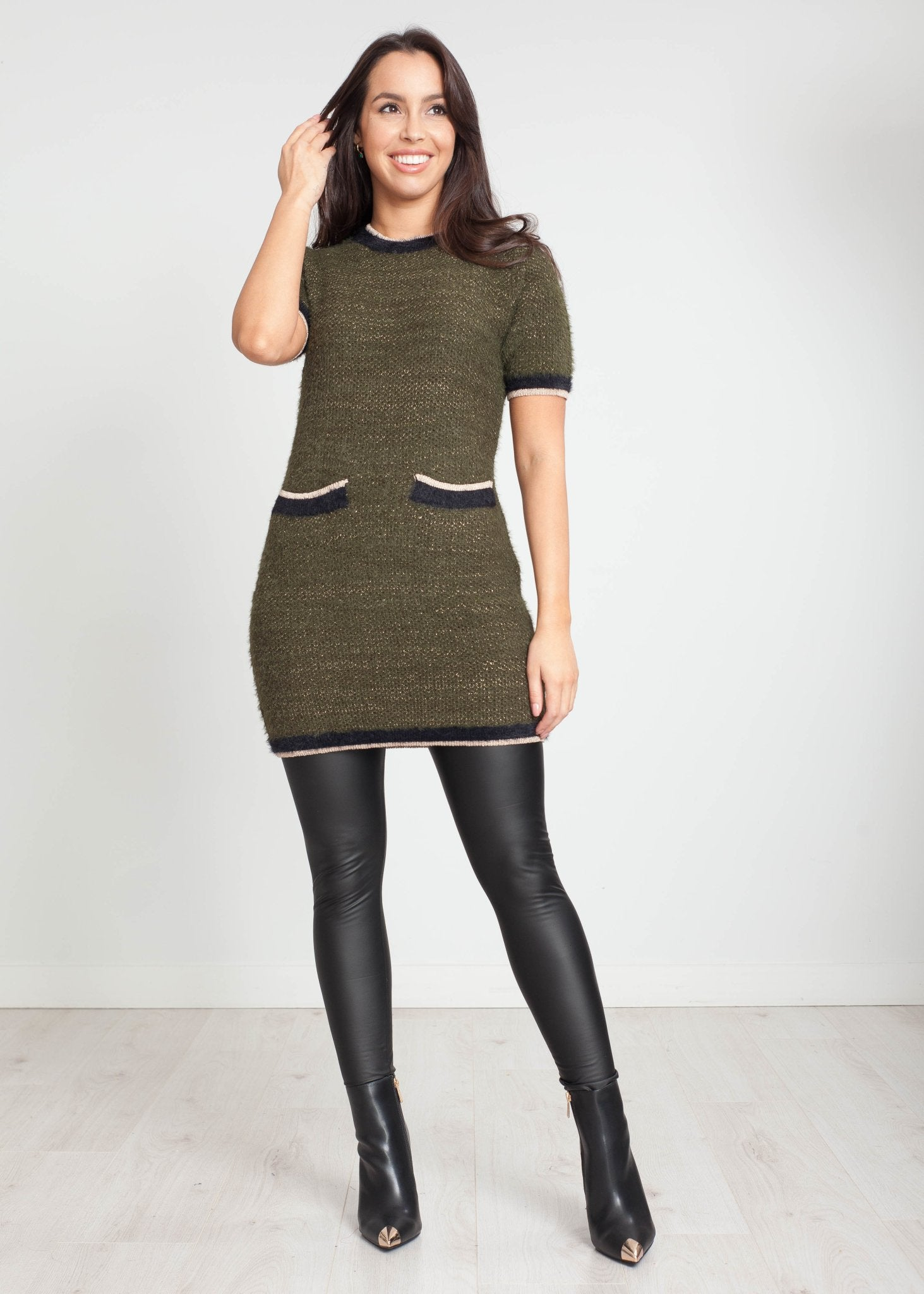 Priya Knit Mini Dress in Khaki - The Walk in Wardrobe