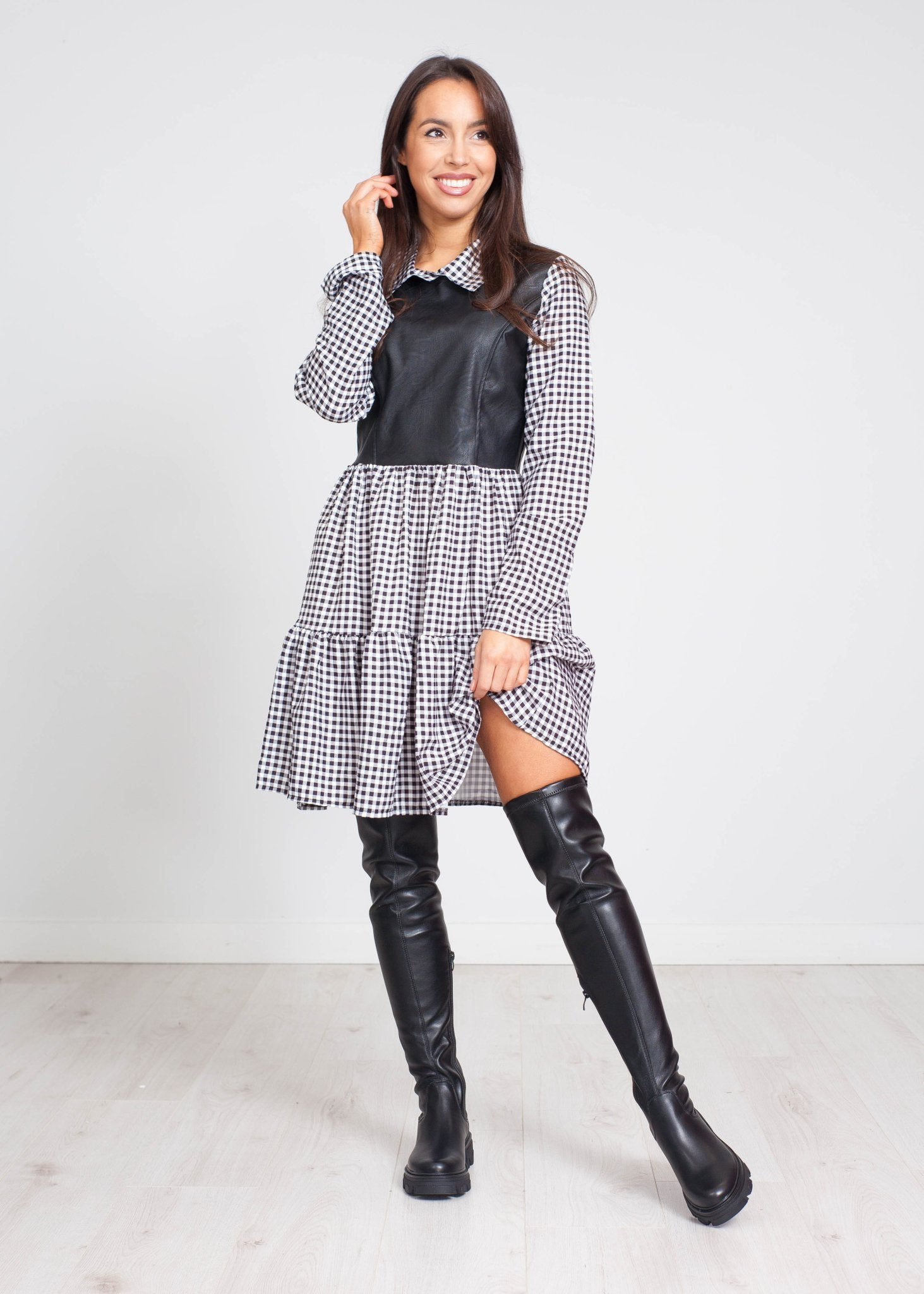 Priya Leather Mix Dress In Black Check - The Walk in Wardrobe
