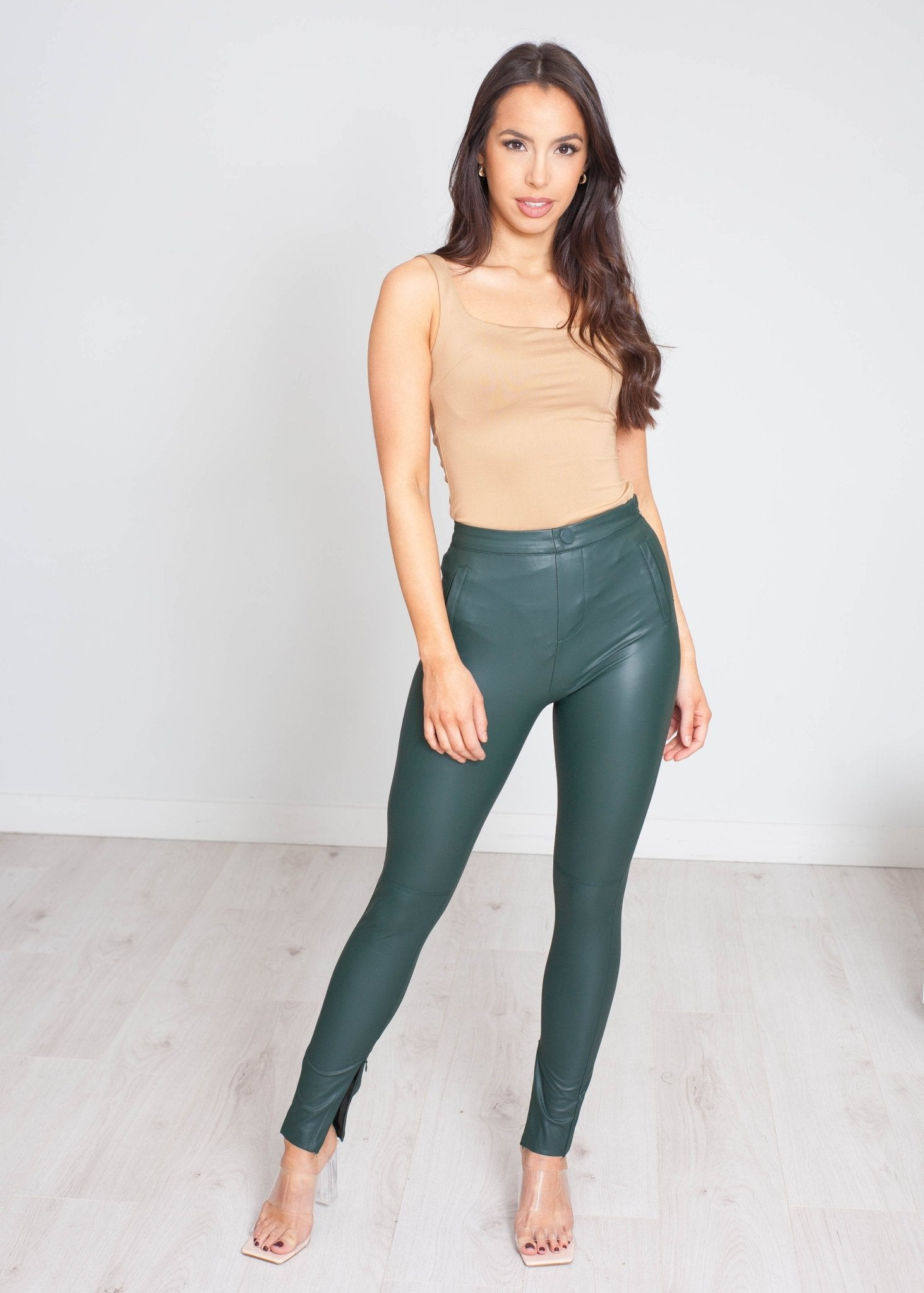 Priya Leather Trouser In Green - The Walk in Wardrobe