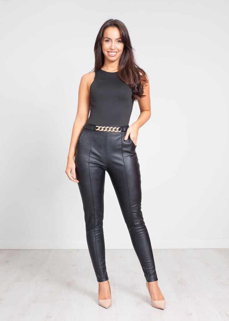 Priya Leather Trousers With Belt In Black - The Walk in Wardrobe