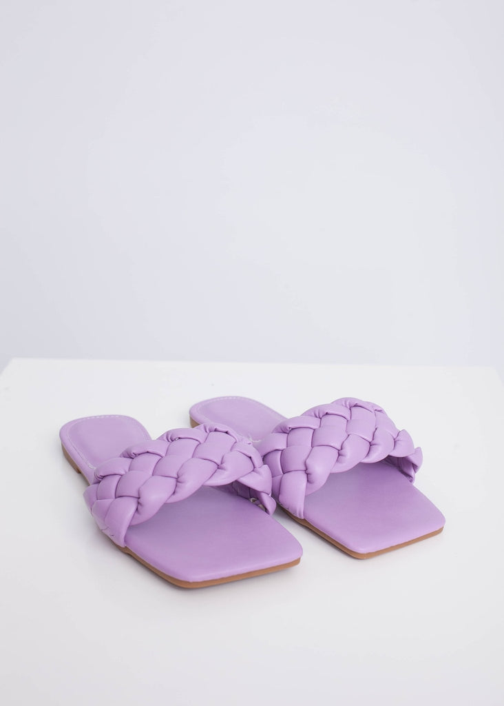 Priya Lilac Braided Sliders - The Walk in Wardrobe