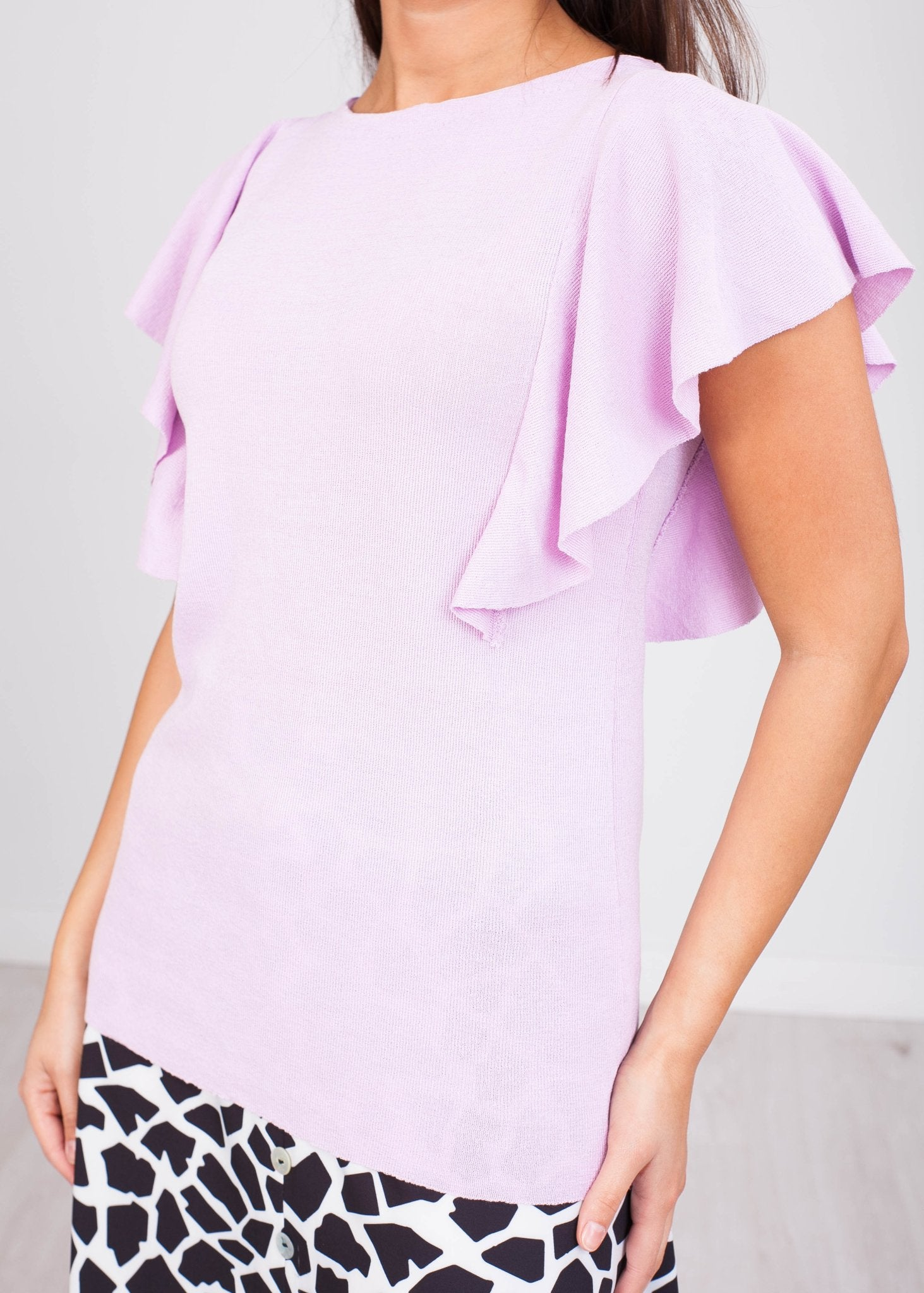 Priya Lilac Frill Jumper - The Walk in Wardrobe