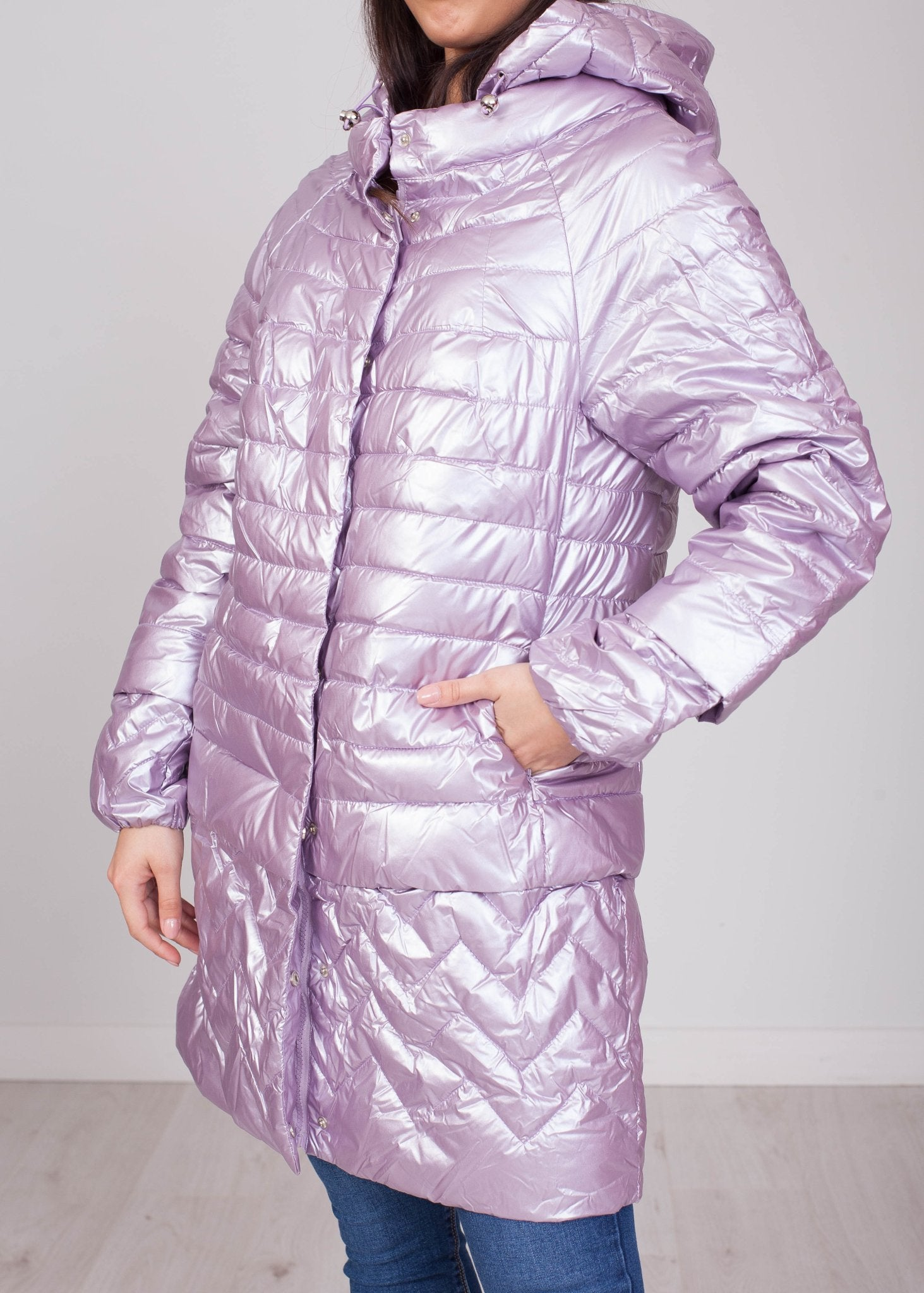 Priya Lilac Shimmer Quilted Coat - The Walk in Wardrobe