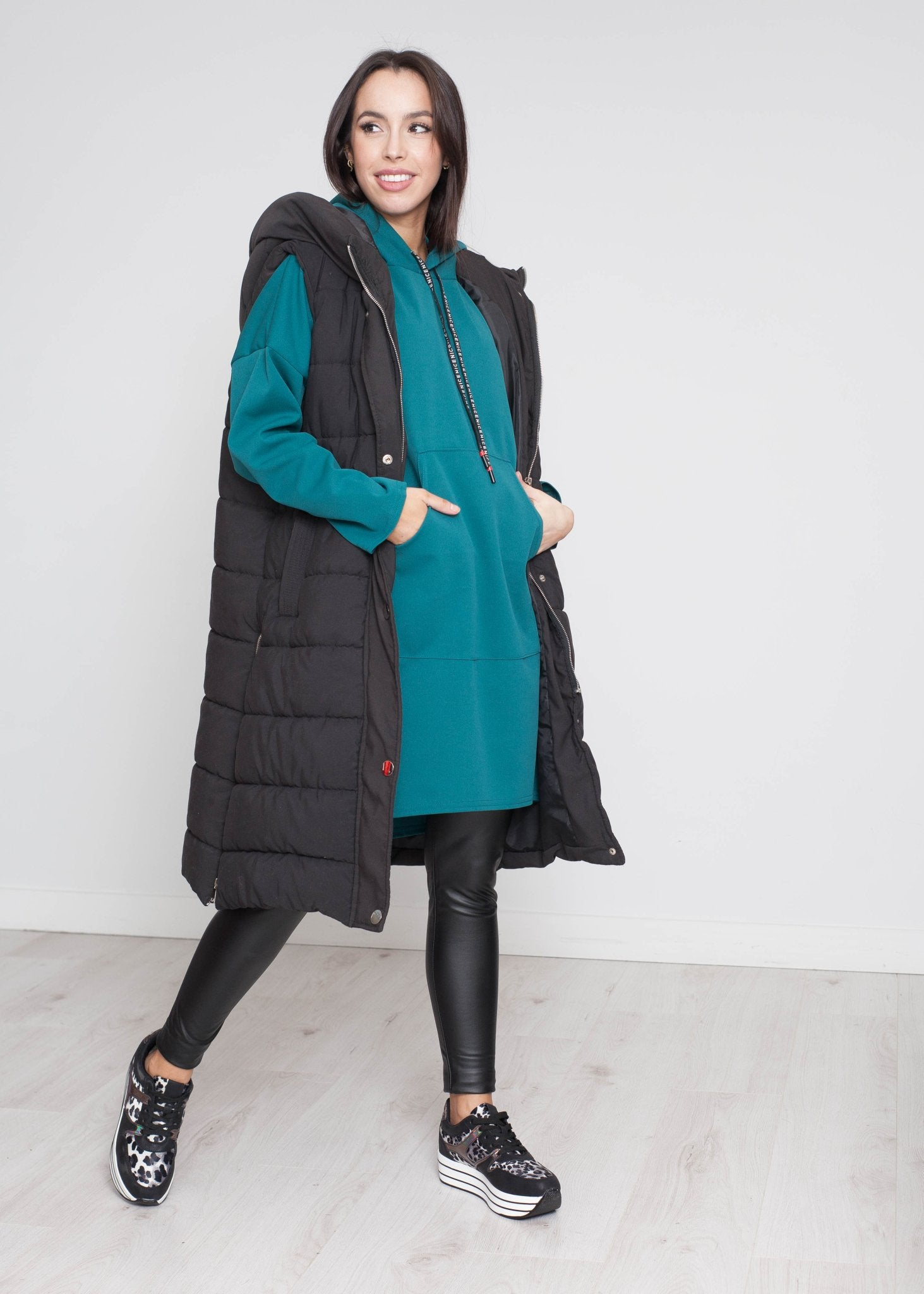 Priya Longline Hoodie In Teal - The Walk in Wardrobe