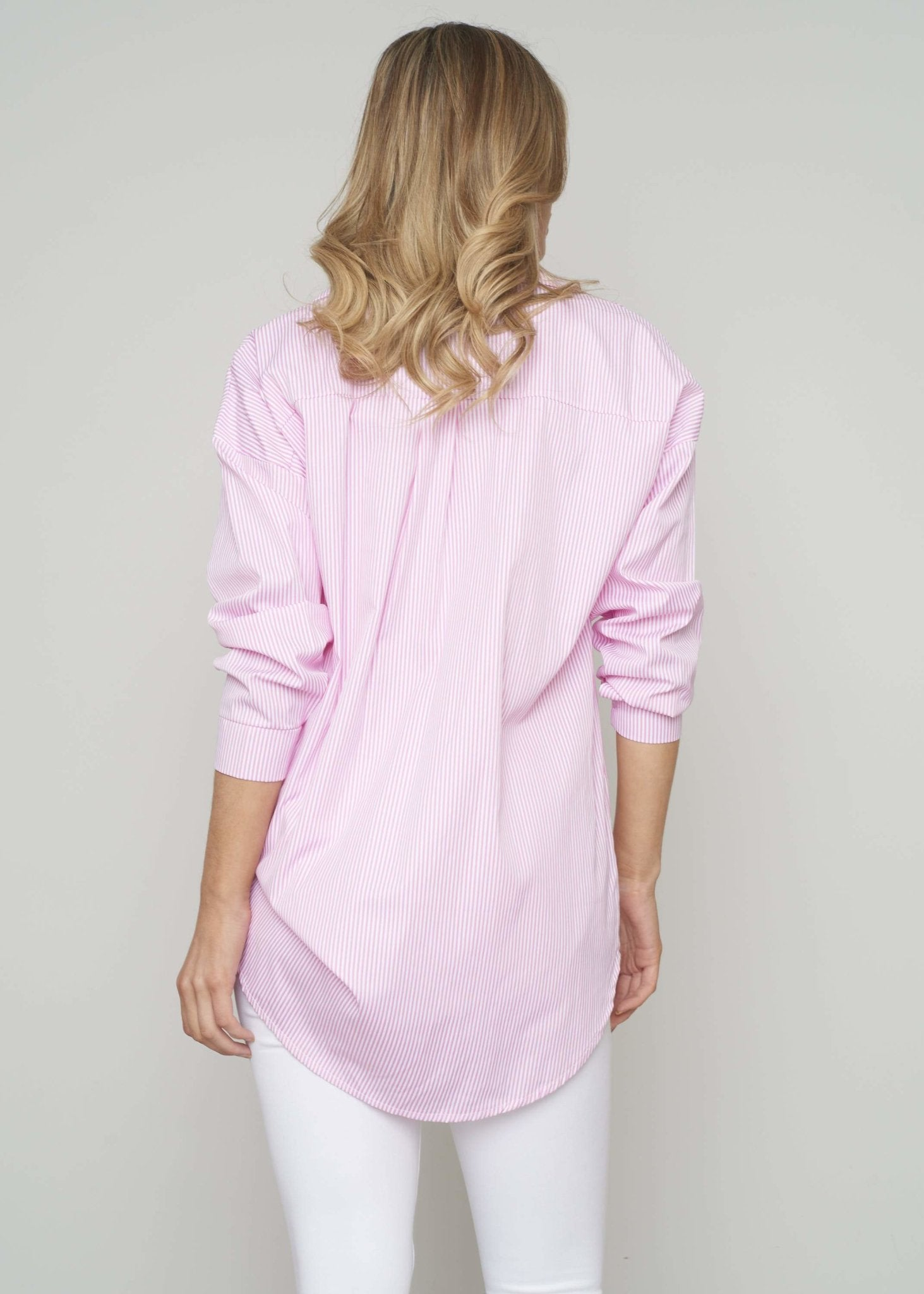 Priya Longline Pinstripe Shirt In Pink - The Walk in Wardrobe
