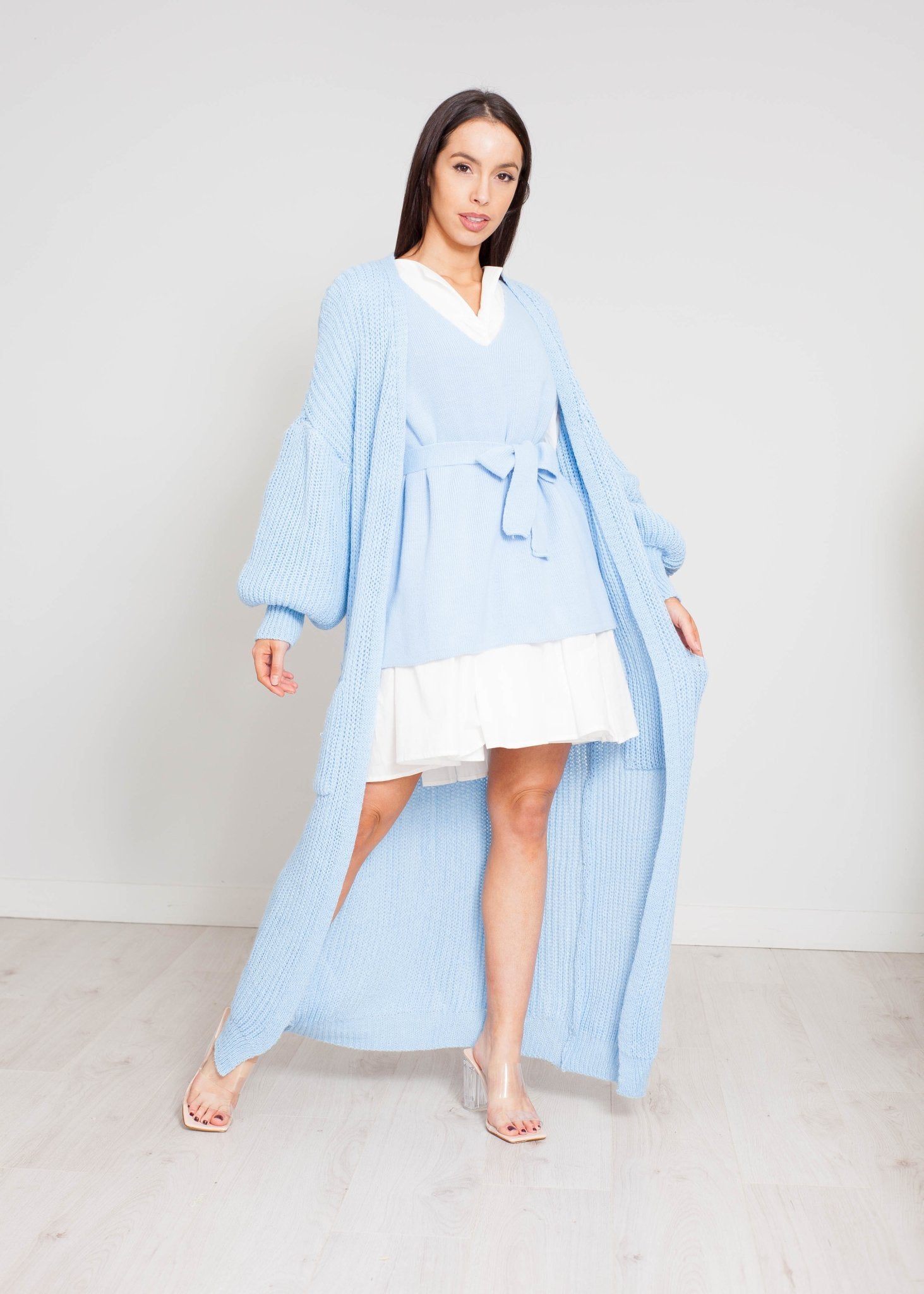 Priya Longline Puff Sleeve Cardigan In Blue - The Walk in Wardrobe
