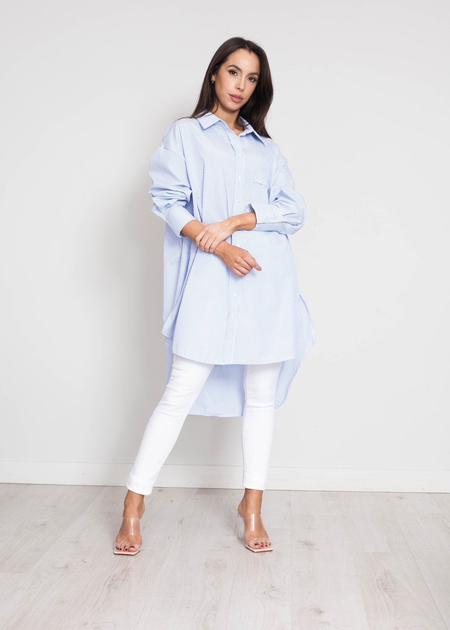 Priya Longline Stripe Shirt In Blue&White - The Walk in Wardrobe