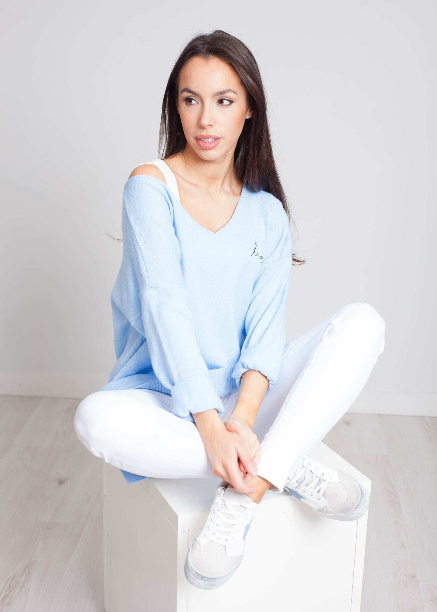 Priya Love Logo Knit In Blue - The Walk in Wardrobe