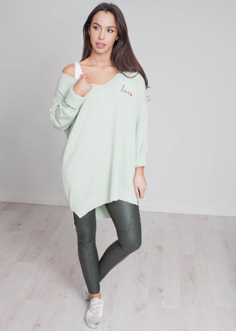 Priya Love Logo Knit In Sage - The Walk in Wardrobe