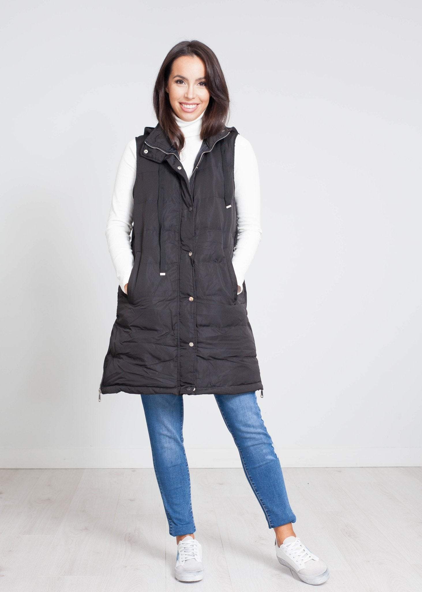 Priya Mid Length Gilet In Black - The Walk in Wardrobe