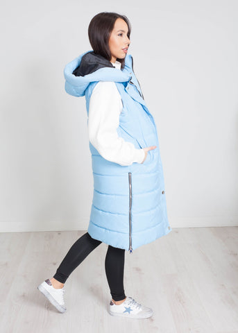 Priya Mid Length Gilet In Sky Blue - The Walk in Wardrobe