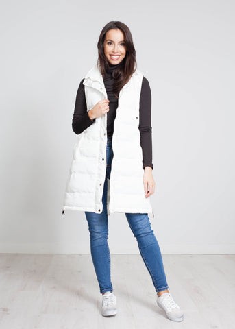Priya Mid Length Gilet In White - The Walk in Wardrobe
