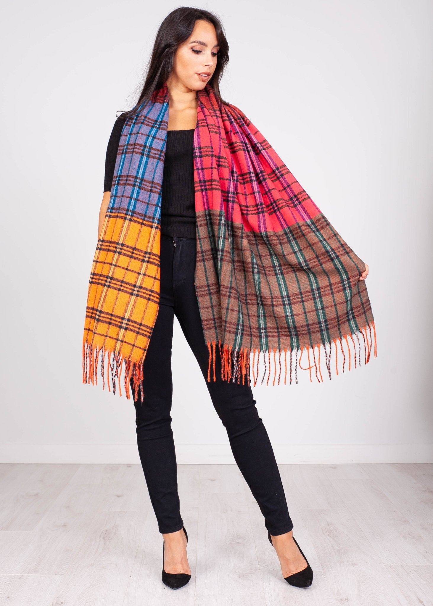 Priya Multi Colour Check Scarf - The Walk in Wardrobe