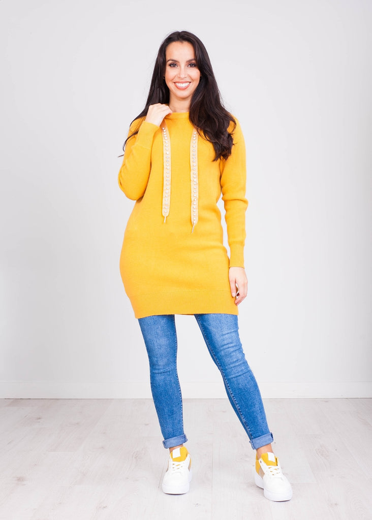 Priya Mustard Hoodie Dress with Jewels - The Walk in Wardrobe