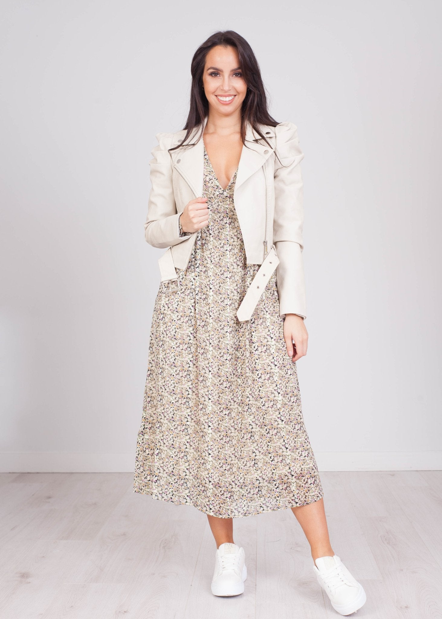 Priya Muted Floral Midi Dress - The Walk in Wardrobe