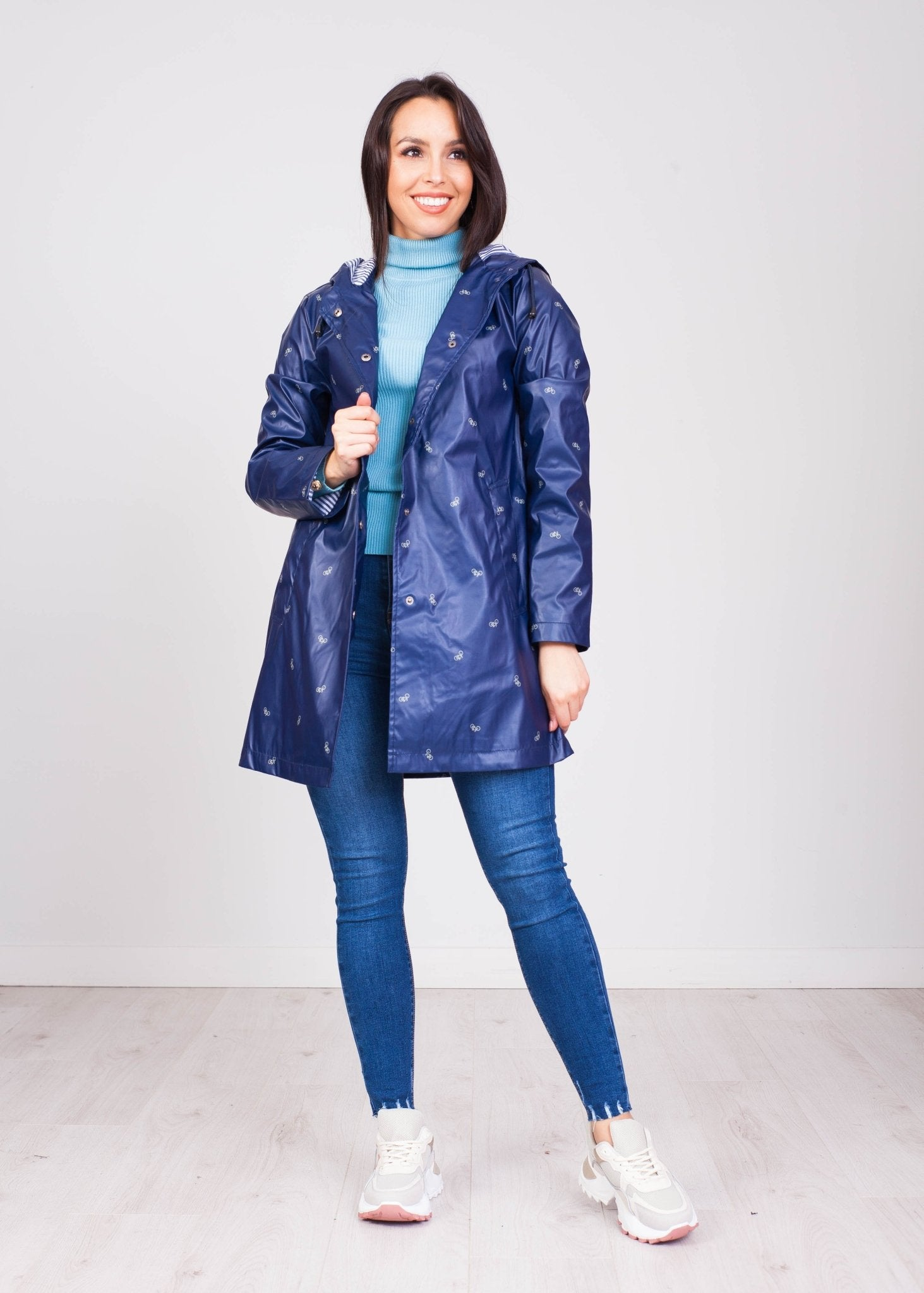 Priya Navy Raincoat with Bikes - The Walk in Wardrobe