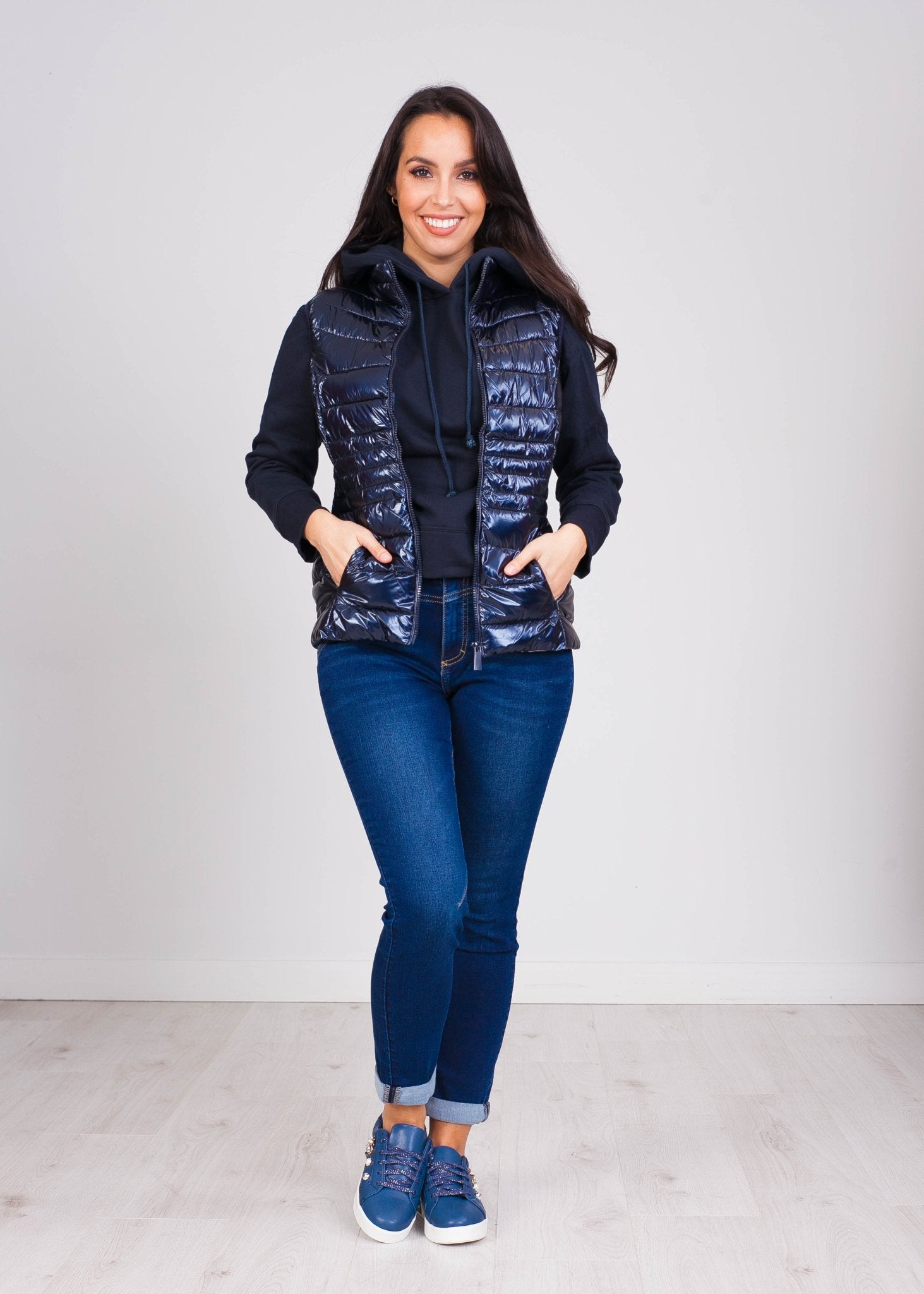 Priya Navy Shimmer Gilet - The Walk in Wardrobe