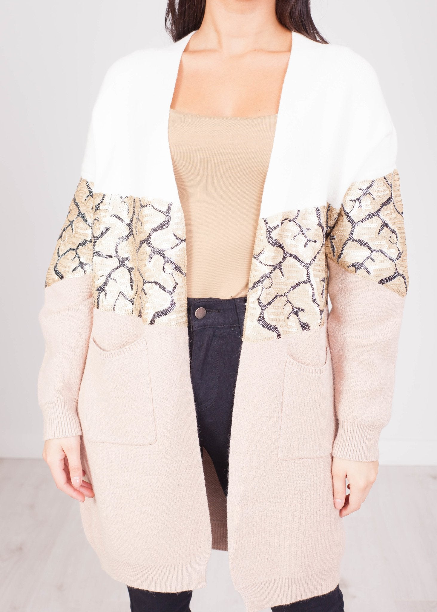 Priya Neutral & Sequin Cardigan - The Walk in Wardrobe