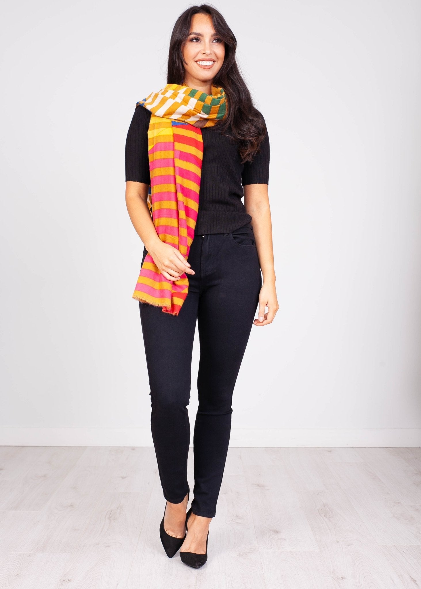 Priya Ochre & Multi Colour Scarf - The Walk in Wardrobe