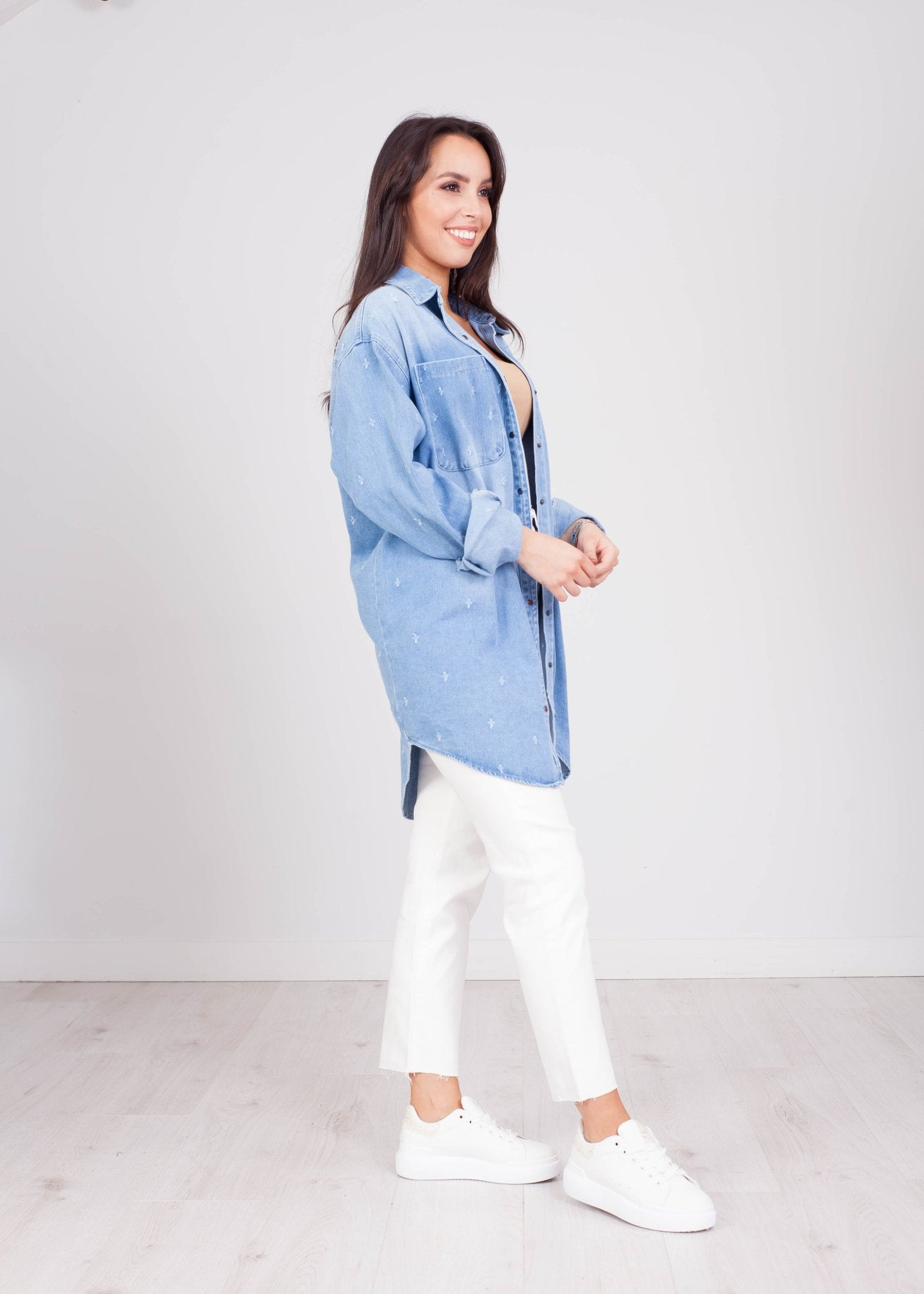 Priya Oversized Light Wash Denim Shirt - The Walk in Wardrobe